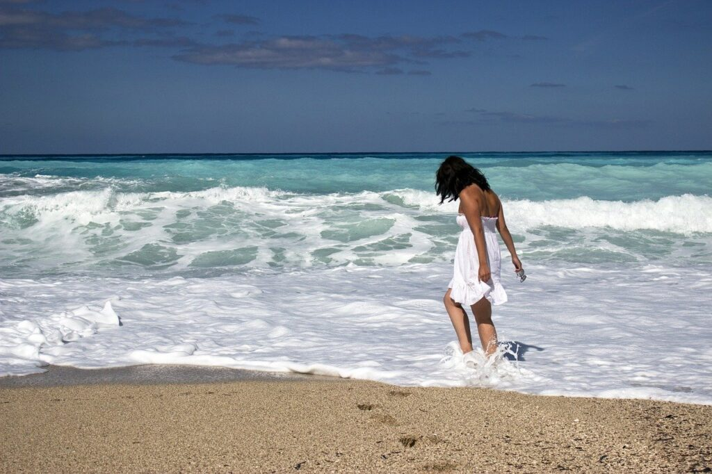 girl, sea, beach